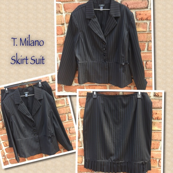 4c291857a3a2c2 T. Milano Skirts | T Milano Pin Striped Black Skirt Suit Jacket 18 ...